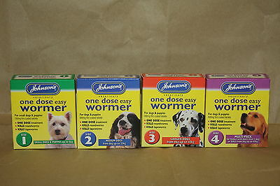 Johnsons One Dose Easy Dog Wormer Worming Tablets All Sizes 1,2,3,4 New!!!