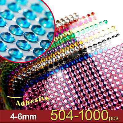 [504-1000pcs] 4-6mm Arcylic Rhinestone Gems Self Adhesive Sticker on Crystals