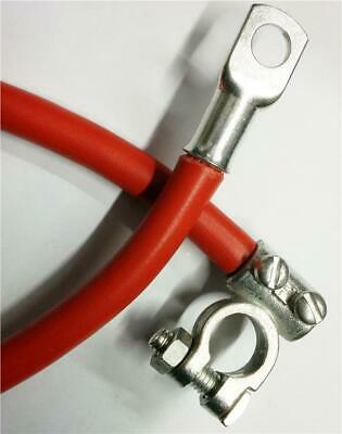 """18/"""" 450mm Car Battery Red Positive Starter Lead Cable Wire Strap M6 Lugs"""