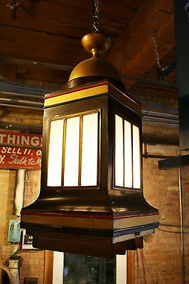 Antique Art Deco Hanging Lantern Light PAIR with MIlk Glass Panels. #6043