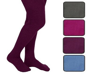 Girls Plain Coloured Thermal Tights with Fleece Lining ages 5 6 7 8 9 10 11 & 12