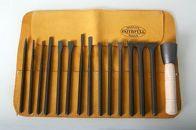 Italian Stone Carving Fire-Sharp Carbon Steel 16pc Full Chisel Set with Hammer