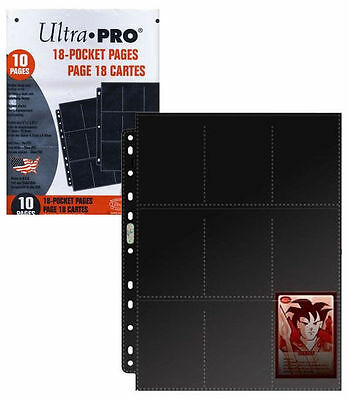 10 x 18 (9-pocket double-sided) Black Ultra Pro Card Protector Plastic Pages