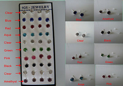 925 silver-plated CZ (6mm) Stud earrings in 8x colours.  NWT