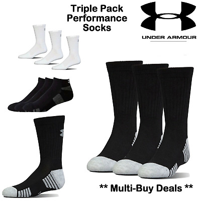 Under Armour Socks New 2017 White Or Black X3 Pack Pairs Crew Socks Mens Size L