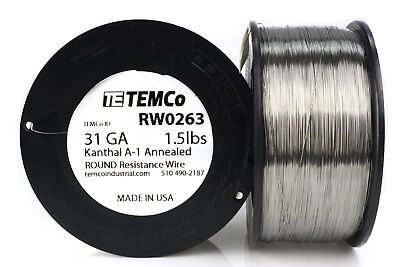 TEMCo Kanthal A1 wire 31 Gauge 1.5 lb (7772 ft) Resistance AWG A-1 ga