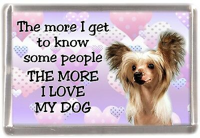 "Chinese Crested Dog Fridge Magnet ""THE MORE I LOVE MY DOG""  by Starprint"