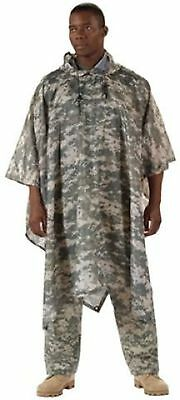 Boy Scout Police Adult Rip Stop ACU Digital Camo Rain Coat Hiking Poncho Shelter