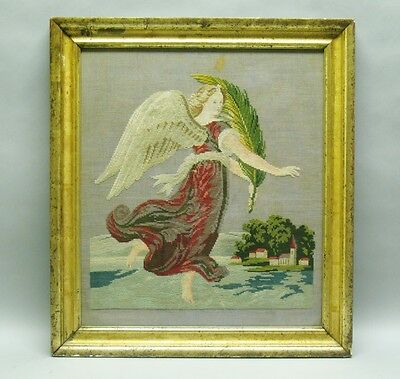 Fine 19th C. French Needlepoint of Angel c. 1850  Original Gilt Frame embroidery