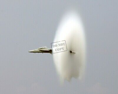 US Navy USN F/A-18F Super Hornet aircraft goes supersonic A1 8X12 PHOTOGRAPH