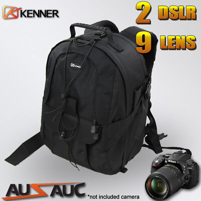 "Pro Camera BACKPACK travel BAG for 2x DSLR 7x lens 15"" Laptop Area Tripod Strap"