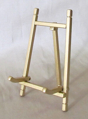 """Folding Brass-Finished Easel, Plate or Book Stand, 9"""" height"""