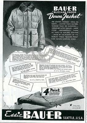 1944 Early Eddie Bauer Blizzard Proof Down Jacket Ad