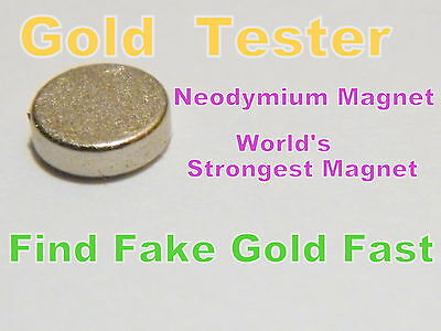 Rare Earth Neodymium Magnet 10mm x 2mm -Testing Scrap Gold & Silver-Large Coins