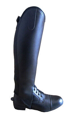 New Ladies & Childrens Black Leather Horse Riding Half Chaps Gaiters 15 Sizes