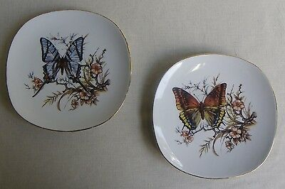 Vintage Set Of 2 J.K.W. BAVARIA Plates Butterfly /Flowers Gold Trim W.Germany