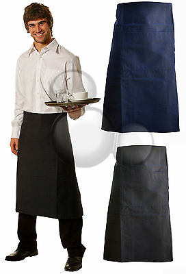 Apron with Pocket Black or Navy Kitchen Cooking Long Waisted Bar Chefs New!