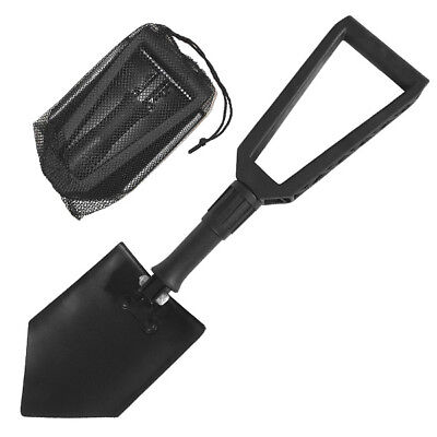 Mil-Com Compact Foldable Lightweight Shovel Strong Handle Camping Fishing Black