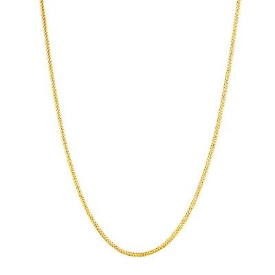 "14K Solid Yellow Gold Round Wheat Chain Necklace 1mm 16"", 18"", 20"", 24"""