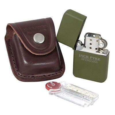 JACK PYKE STAINLESS STEEL COUNTRYMAN LIGHTER with FLINTS, WICK & POUCH OLIVE OD
