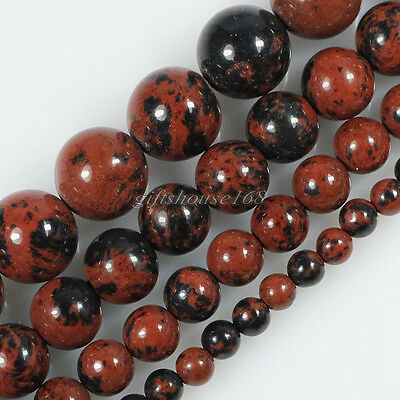 """Natural Mahogany Obsidian Gemstone Round Loose Beads 4 6 8 10mm 15.5"""" Pick Size"""