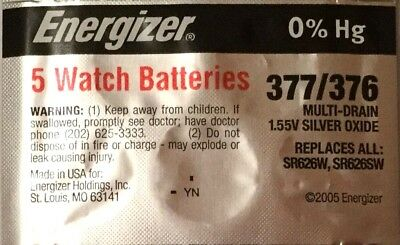5 ENERGIZER SR626SW 377/376 Silver Oxide 1.55v Watch Batteries Aussie Stock