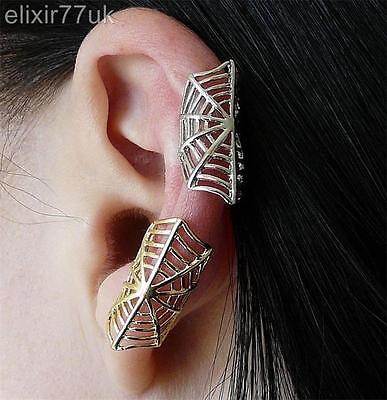 New Silver Or Gold Spider Web Ear Cuff Upper Helix Cartilage Clip-On Earring Hot
