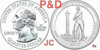 2013 5xP & 5xD Perry's Victory Memorial OHIO STATE NATIONAl PARK 25¢ BU MS MINT