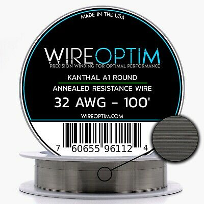 Kanthal 32 Gauge AWG A1 Wire 100ft Roll .20mm , 13.75 Ohms/ft Resistance