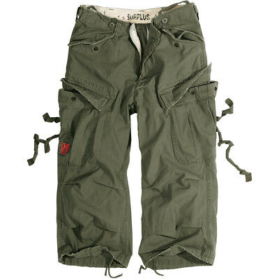 Surplus Engineer Military Vintage Style 3/4 Mens Cargo Combat Long Shorts Olive