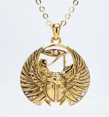 Wing Scarab Ancient Egyptian Amulet Alloy Pendant Necklace Golden Finish