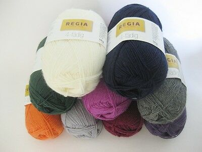 Regia 4ply Sock yarn solid colours 50g VARIOUS SHADES 75% wool 25% polyamide