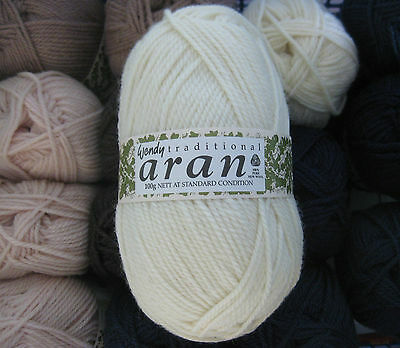 Wendy Traditional Aran 100g pure wool VARIOUS SHADES made in Britain