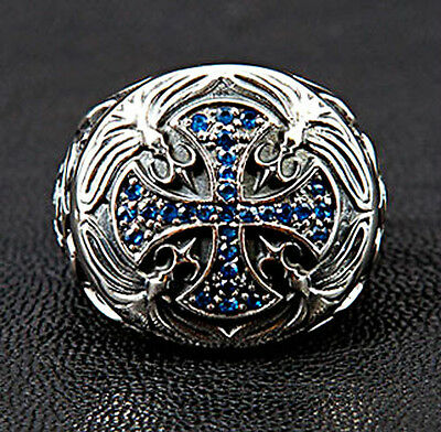 MEDIEVAL BLUE SAPPHIRE CROSS 925 STERLING SILVER MENS RING Sz 7.5 BIKER GOTHIC
