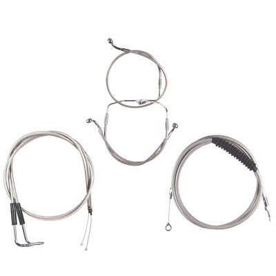 """Stainless +2"""" Cable & Brake Line Bsc Kit 1996-2006 Harley Touring No Cruise"""