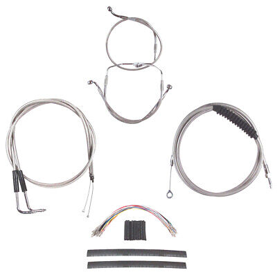 """Stainless +8"""" Cable & Brake Line Cmpt Kit 1996-2006 Harley Touring No Cruise"""