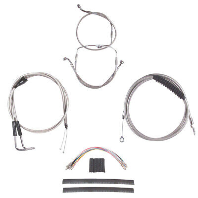"""Stainless +10"""" Cable & Brake Line Cmpt Kit 1996-2006 Harley Touring w/Cruise"""