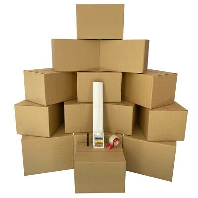 Moving Boxes 1 Room Bigger Moving Kit - 14 Boxes plus Supplies & Tape