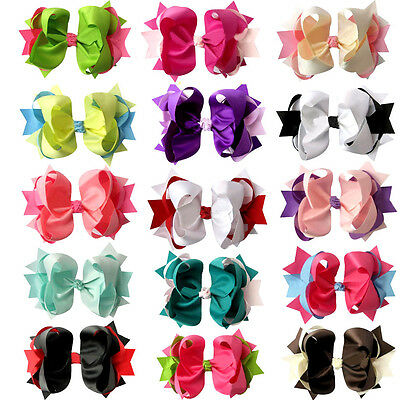 """4"""" Two Tone Baby Girl Toddler Spike Hair Bows 15pcs Mixed in 15 Color"""