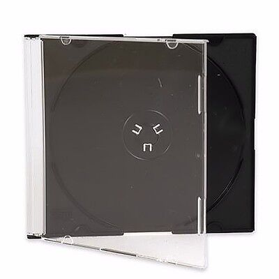 100 New Single Slim Black CD DVD Jewel Case Box 5.2mm Ship Same Biz Day by 12pm