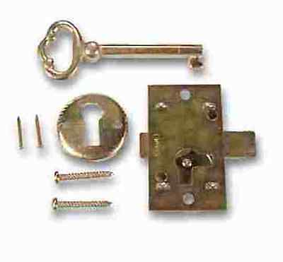 L-1B-05 Brass Plated Steel Flush Mnt Cabinet Door Lock & Key (Lot Of 5 Pcs)