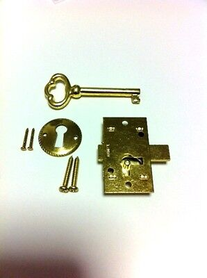 L-1B-10 Brass Plated Steel Flush Mnt Cabinet Door Lock & Key (Lot Of 10 Pcs)