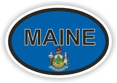 MAINE STATE OVAL WITH FLAG STICKER USA UNITED STATES bumper decal car helmet