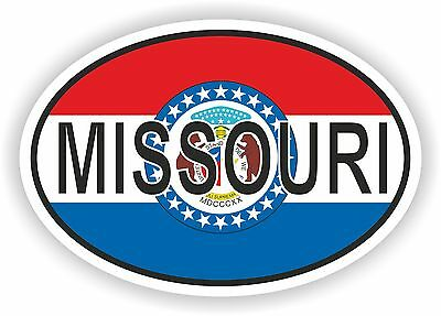 MISSOURI STATE OVAL FLAG STICKER USA UNITED STATES bumper decal car helmet