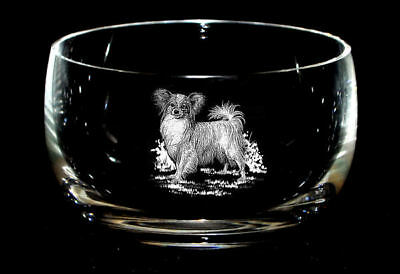 PAPILLON  *DOG GIFT* 12.5cm Boxed CRYSTAL GLASS SWEET BOWL