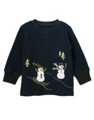 Gymboree Snow Days Navy Skiing Snowman Thermal L/s Tee 3 6 12 18 24 3T 4T 5T Nwt
