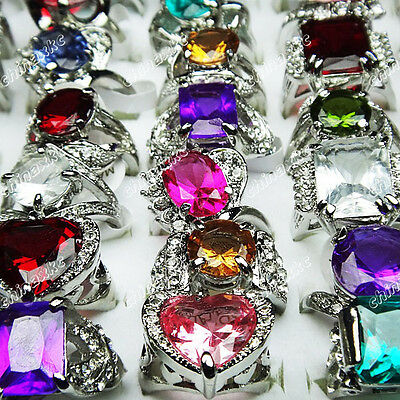 20pcs Wholesale jewelry lots Cubic Zircon Rhinestone Silver Plated Fashion Rings