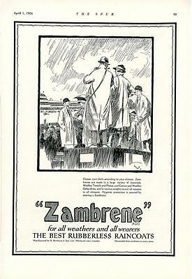 1924 Zambrene Ad Rubberless Raincoats Birnbaum & Sons London Horseraces Rain