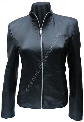 Ladies Black Zipped Bomber Biker Style Retro 100% Real Leather Jacket