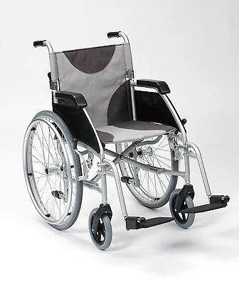 "Ultra Lightweight aluminium folding self propel wheelchair extra wide 20"" seat"